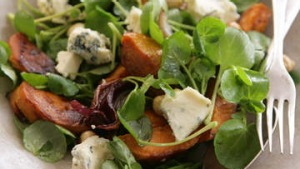 Warm salad of blue cheese with sweet potato, hazelnuts and watercress.
