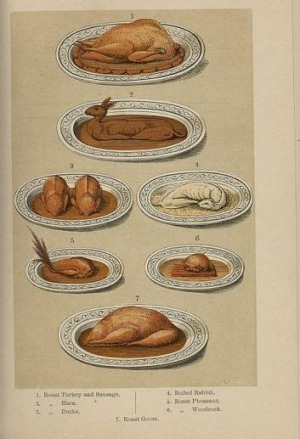 A plate from The English and Australian Cookery Book by Edward Abbott.