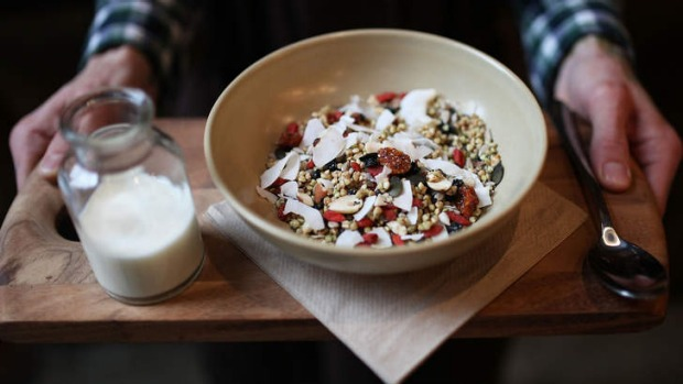 'Super-charged' granola served with house-made almond milk on the side.
