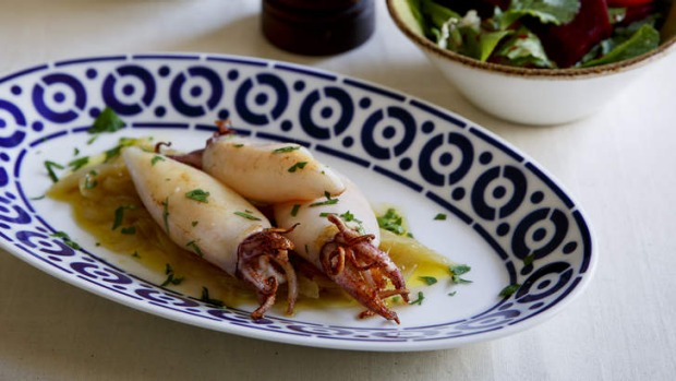 Dish with a story: Baby squid with onion confit.
