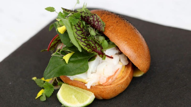 Charcoal-dusted brioche bun for Kettle Black's lobster roll in Melbourne.