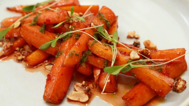 Smoked carrots with chilli and peanuts.