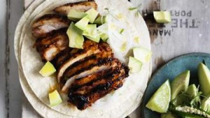 Neil Perry's adobo-marinated chicken tacos.