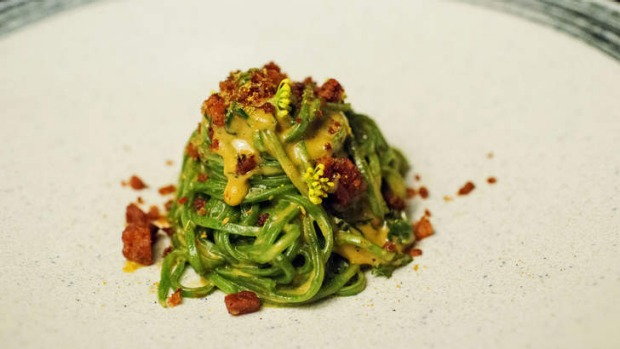 Stinging nettle chitarra, with mussel cream, crisp pork and fennel pollen.