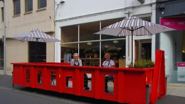 Tip-top idea: Helen and Trish Brosnan in the parklet pod outside their Geelong business, James Street Bakery.