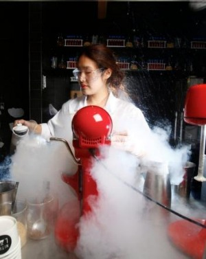 Liquid nitrogen is used to prepare a gelato creation at The Lab Nitrogen Gelato.