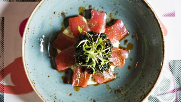 Tuna sashimi with wakame and wasabi at Charlie Dumpling in Melbourne.