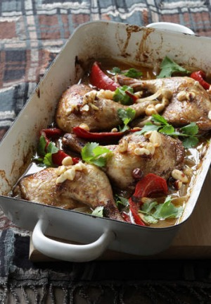Jill Dupleix's chicken with saffron, honey and macadamias
