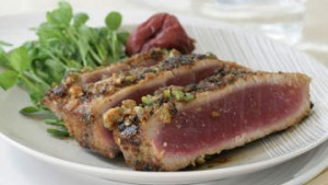 Wasabi pea crusted tuna.