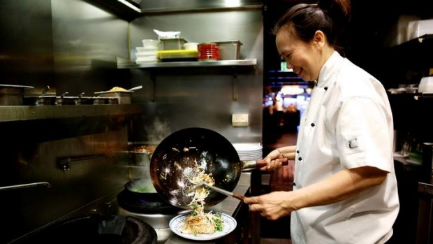 Popular on Sydney's menus: Chat Thai founder Amy Chanta cooking Pad Thai.