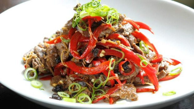 Kylie kwong 39 s wallaby with black bean and chilli for Australian fusion cuisine