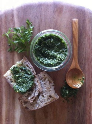Waste not! Carrot-top pesto is delicious and thrifty.