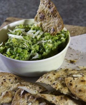 Broad bean dip with flatbread.