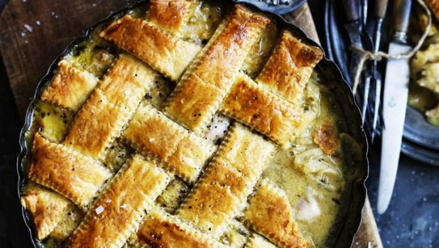 Polenta lends a nice hue and flavour to this retro chicken pie.