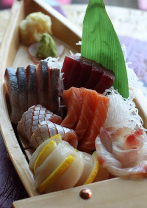 The deluxe sushi and sashimi boat.
