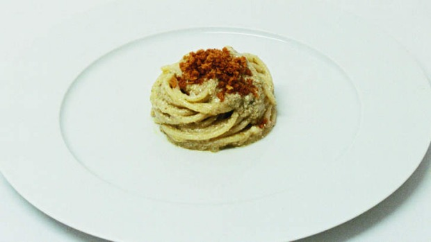 Massimo Bottura's spaghetti cetarese is no everyday pasta.