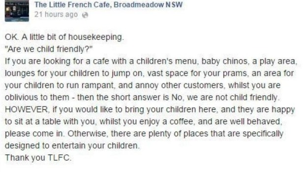 Unruly kids unwelcome: The cafe's original Facebook post, since removed.