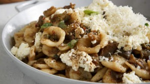 Orecchiette with eggplant and ricotta.