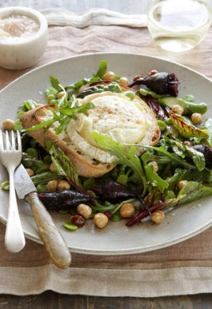 Spring salad: Grilled goat's cheese, roasted beetroot, hazelnuts and broad beans.