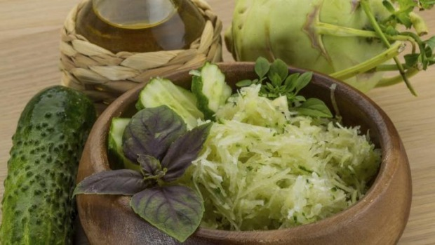 Kohlrabi and cucumber salad.