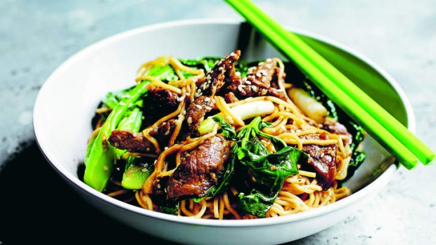 Perfect mid-week meal: Shredded beef, ginger and Thai basil stirfry.