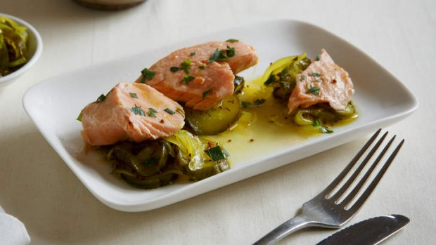 Zesty fish: Poached ocean trout with pickled cucumbers.
