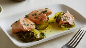 Poached ocean trout with pickled cucumber