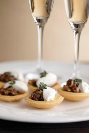 Champagne is often matched with canapes.
