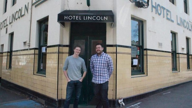 Iain Ling (right) and Lachlan Cameron of the Hotel Lincoln, Carlton.