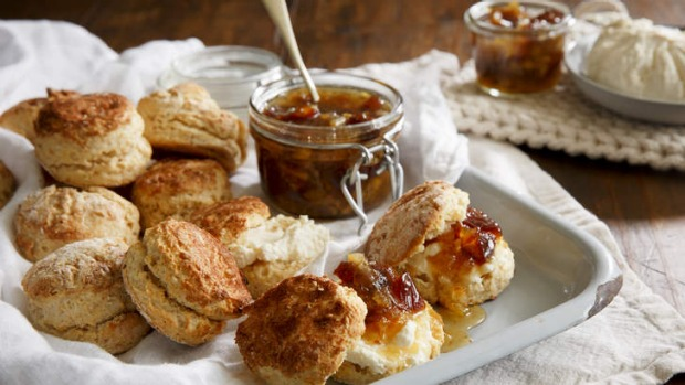 Classic with a twist: Saffron scones with labna and marmalade.