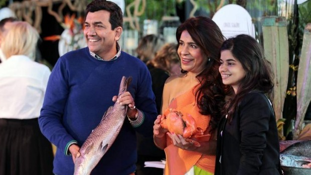 Global foodies: Indian chef Sanjeev Kapoor and food writer Rashmi Uday Singh in Hobart.