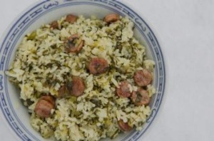 Variety: Chinese Sausage with rice and asparagus lettuce leaves.