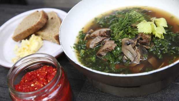 Beef broth with kale and mushrooms.