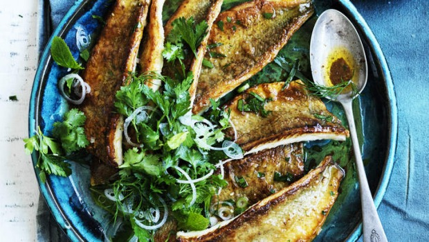 Pan fried whiting with burnt butter and herb salad recipe for Whiting fish fillet