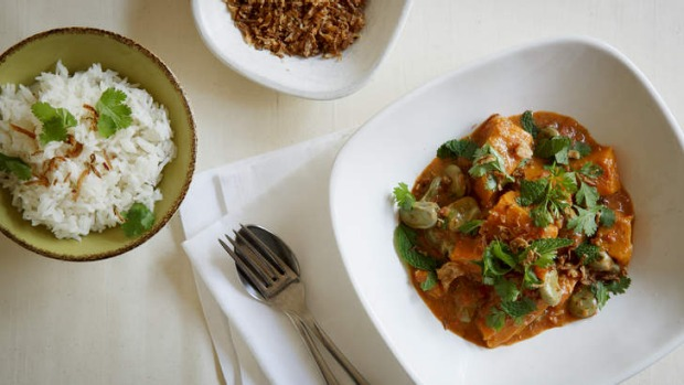 Deliciously adaptable: Pumpkin and broad bean coconut curry.