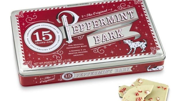 Williams Sonoma Peppermint Bark, available in stores. $39.