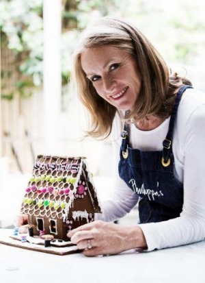 Phillippa Grogan and her traditional gingerbread house.