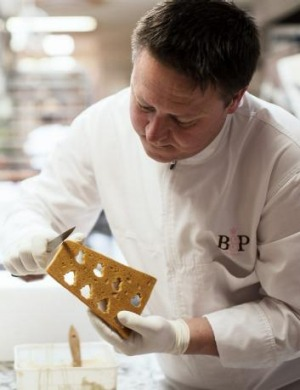 Darren Purchese, from Burch and Purchese,  preparing the modern gingerbread house.