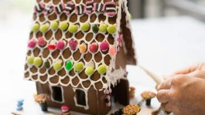 Phillippa Grogan demonstrates how to make a gingerbread house.