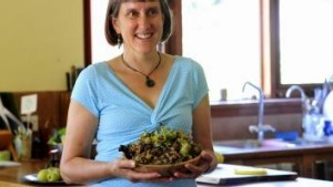 Fiona Buining of Ainslie with a bowl of hazelnuts.