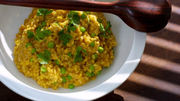 Tony Chiodo's risotto with pumpkin, peas, brown rice, barley and whole-wheat grain.