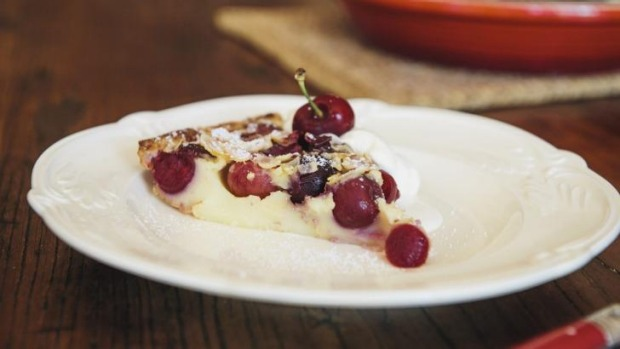 Yum: A slice of perfect cherry clafoutis.