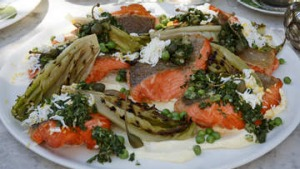 Seared ocean trout with grilled cos lettuce and salsa verde