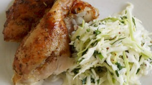Barbecue chicken and kohlrabi salad.