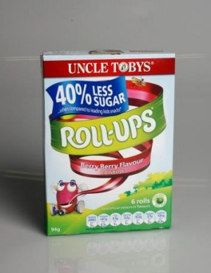Uncle Tobys Roll Ups contain only 25 per cent fruit.