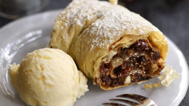 Italian Christmas strudel filled with figs and nuts.