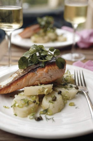 Warm salmon, potato and dill salad.