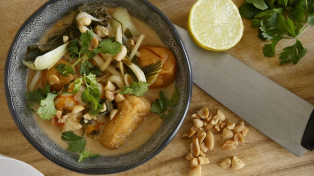Light with a bite: Prawn and tofu noodle soup is perfect for summer.