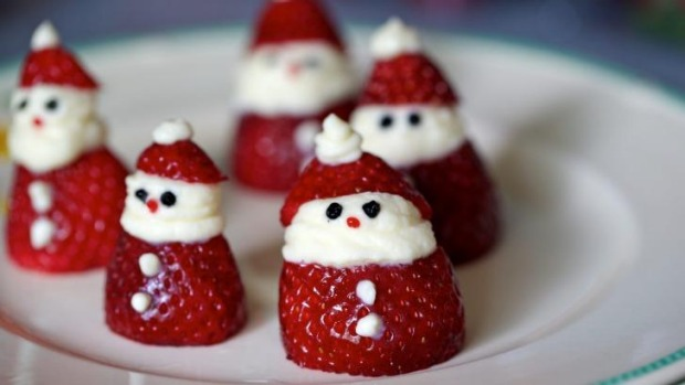 Strawberry Santas are a cute edition to Christmas.
