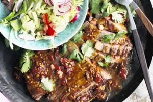 Warm steak salad with chipotle dressing.